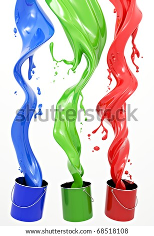 Definition of RGB color system. Three colors in the form of liquid on a white background. - stock photo