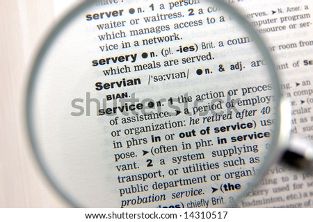 Definition of service emphasized by a magnifying glass