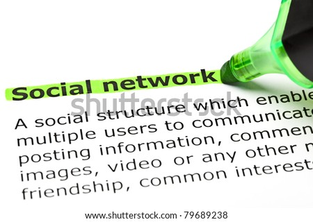 Definition of Social Network highlighted with green marker. - stock photo