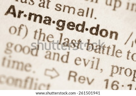 Definition of word Armageddon in dictionary - stock photo