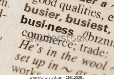 Definition of word business in dictionary - stock photo