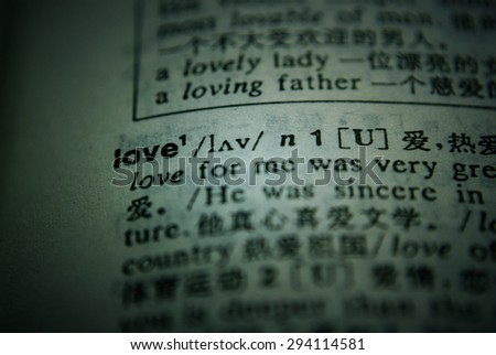 Definition of word love in dictionary - stock photo