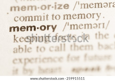 Definition of word memory  in dictionary - stock photo
