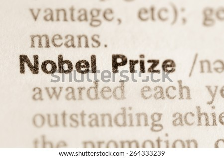 Definition of word Nobel Prize in dictionary - stock photo
