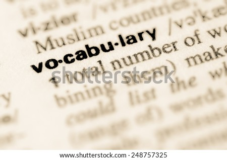 Definition of word vocabulary in dictionary - stock photo
