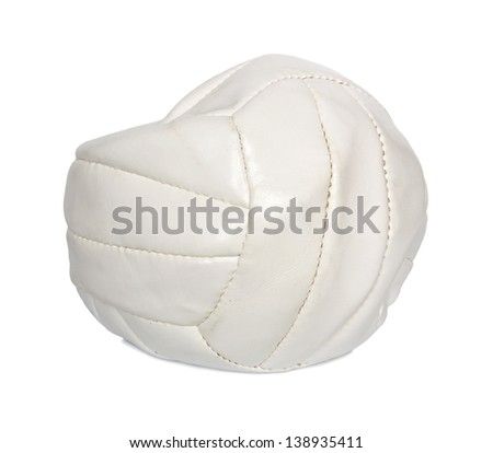 Deflated volleyball ball isolated on white background. - stock photo