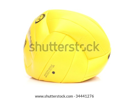 Deflated Volleyball. Isolated on white background - stock photo