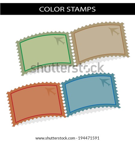 deflected stamps - stock photo