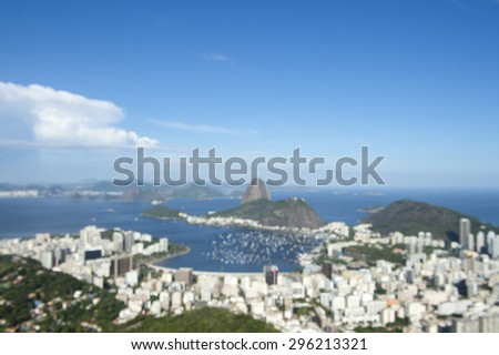 Defocus abstract skyline scenic overlook of Rio de Janeiro city with Sugarloaf Mountain Botafogo and Guanabara Bay - stock photo