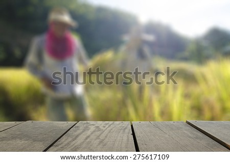 Defocus and blur image of terrace wood and farmer harvest paddy rice in farm for background usage - stock photo