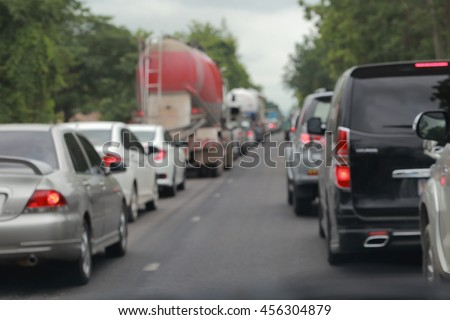 Defocus blur background of car traffic on road - stock photo