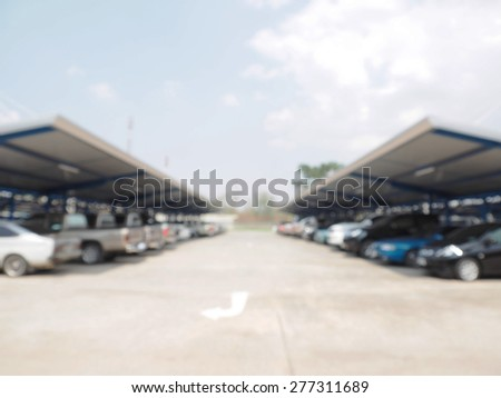 Defocus blur car park - stock photo
