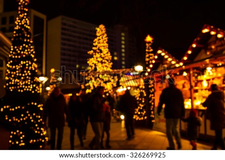Defocus Christmas market of Berlin at night