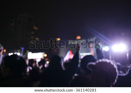 Defocus Image of Young Crowds at the concert