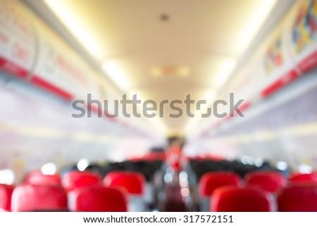 defocus interior of the passenger airplane - stock photo