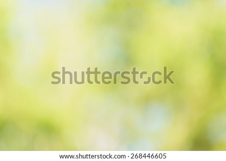 Defocus nature green bokeh, Defocused abstract nature background with green leaves and bokeh lights. - stock photo