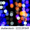 Defocused abstract background Lights at night. - stock photo