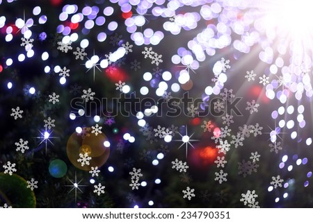 Defocused abstract light bokeh and flare christmas background  - stock photo