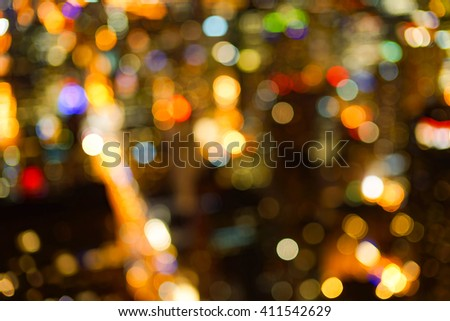 Defocused aerial view of Chicago downtown at night - stock photo