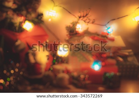 Defocused and blur Santa claus hold bell, Christmas light the Happiness night. Ornament decorate the Merry christmas and happy new year - stock photo