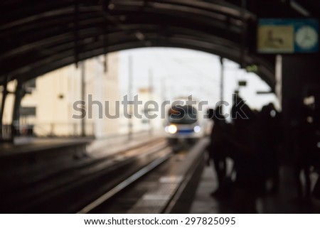Defocused and blurred image for background tunnel of airport link - stock photo