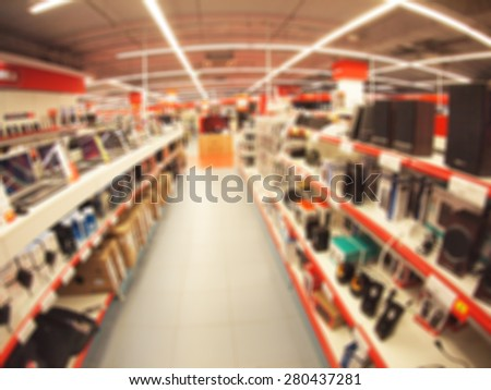 Defocused and blurry image of the store computer equipment and accessories with wide angle fisheye lens and distortion view - stock photo