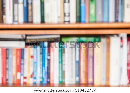 Defocused Background From Many Books On Bookshelf