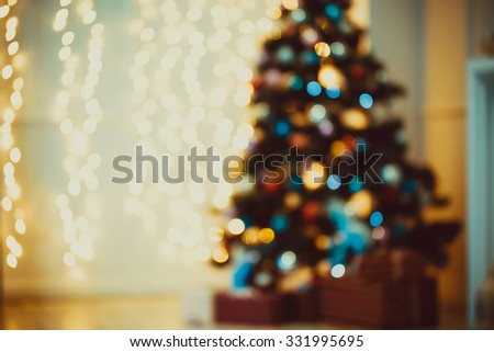 Defocused background Living room with christmas tree