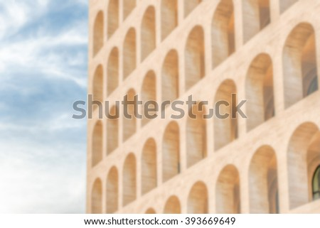 Defocused background of neoclassical architecture in Rome, Italy. Intentionally blurred post production for bokeh effect - stock photo