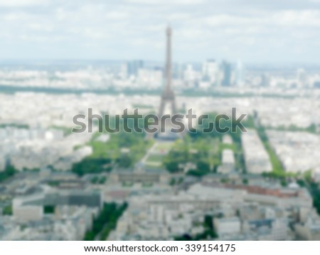 Defocused background of Paris, France. Intentionally blurred post production for bokeh effect - stock photo