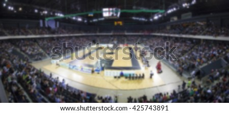 Defocused background of sports arena and crowd - stock photo