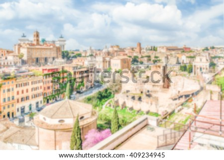 Defocused background with aerial view of Rome city centre, Italy. Intentionally blurred post production for bokeh effect - stock photo