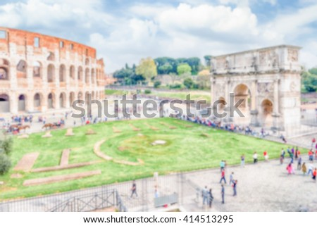 Defocused background with the Colosseum and Arch of Constantine, Rome, Italy. Intentionally blurred post production for bokeh effect - stock photo