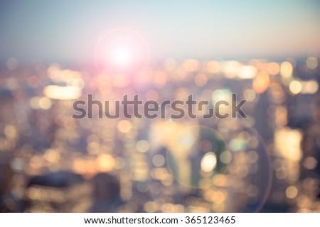 Defocused blur across urban buildings in New York City - stock photo