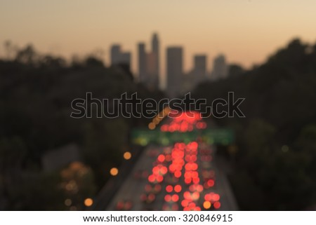 Defocused blur of Downtown Los Angeles at sunset - stock photo