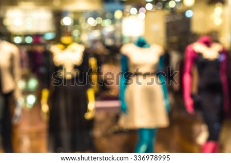 Defocused blurred female mannequins inside a fashion house, Fashion idea for your design - stock photo