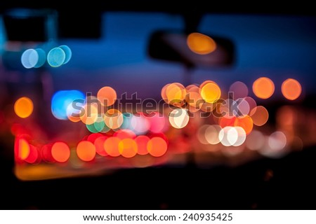 Defocused bokeh lights when traffic jam. - stock photo