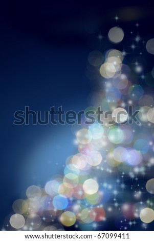 defocused christmas tree - stock photo
