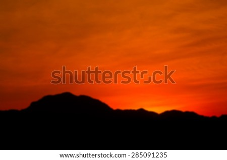 Defocused Colorful Sunset Behide Mountain Background, Blur Abstract Beautiful Nature