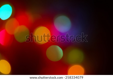 Defocused colourful lights at night