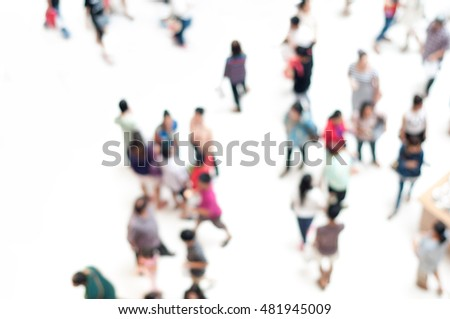 Defocused crowd of people on white for background from top view