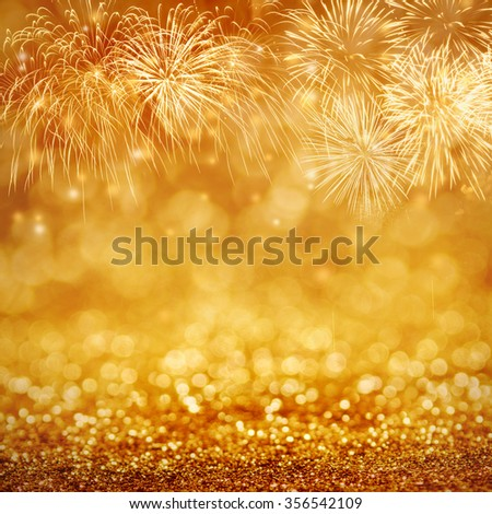 Defocused fireworks and bokeh at New Year and copy space. Abstract background holiday. - stock photo