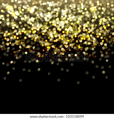 Defocused Gold Abstract Background With Bokeh - stock photo