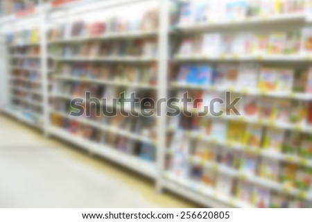 Defocused image of books in a bookstore.Specially blurred photo - stock photo
