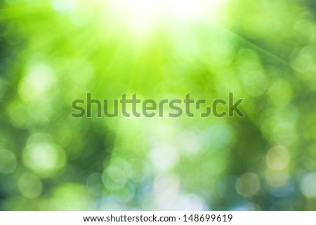 defocused light spot with green color - stock photo