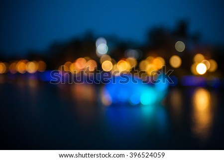 defocused light with river view - stock photo