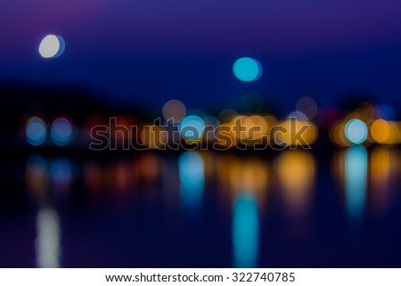 Defocused of urban light blur abstract texture background - stock photo