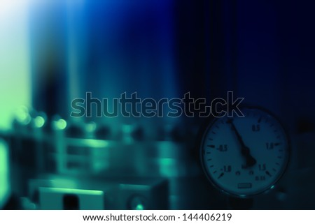 Defocused soft  blue scientific or technological abstract background - stock photo