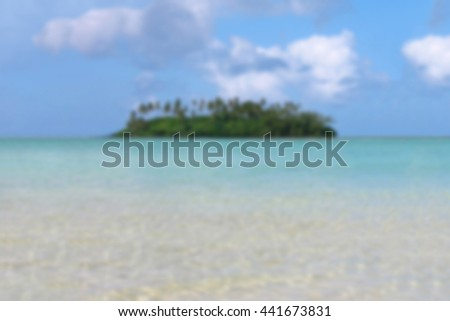 defocused tropical island and lagoon background. Cook Islands. - stock photo
