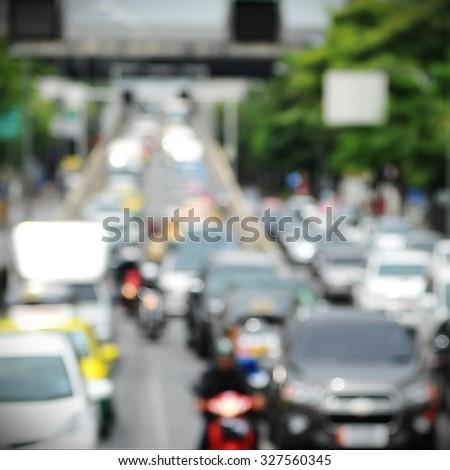 Defocused View of Inner City Grid Locked Traffic - stock photo
